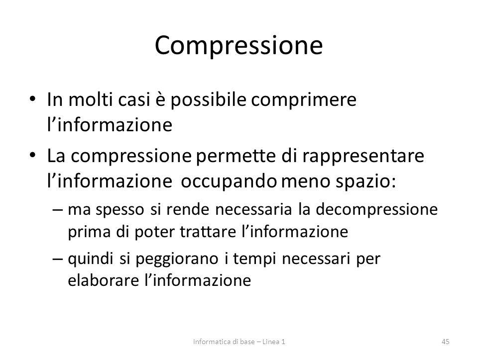 Compressione In molti casi è possibile comprimere l'informazione La compressione permette di rappresentare l'informazione occupando meno spazio: – ma
