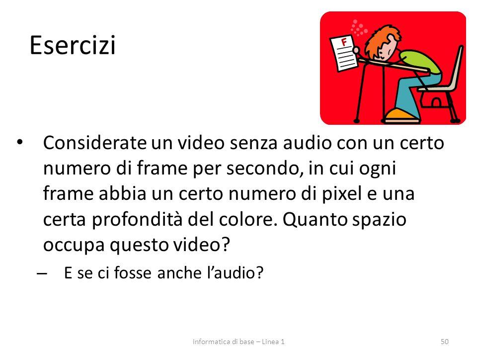 Esercizi Considerate un video senza audio con un certo numero di frame per secondo, in cui ogni frame abbia un certo numero di pixel e una certa profo