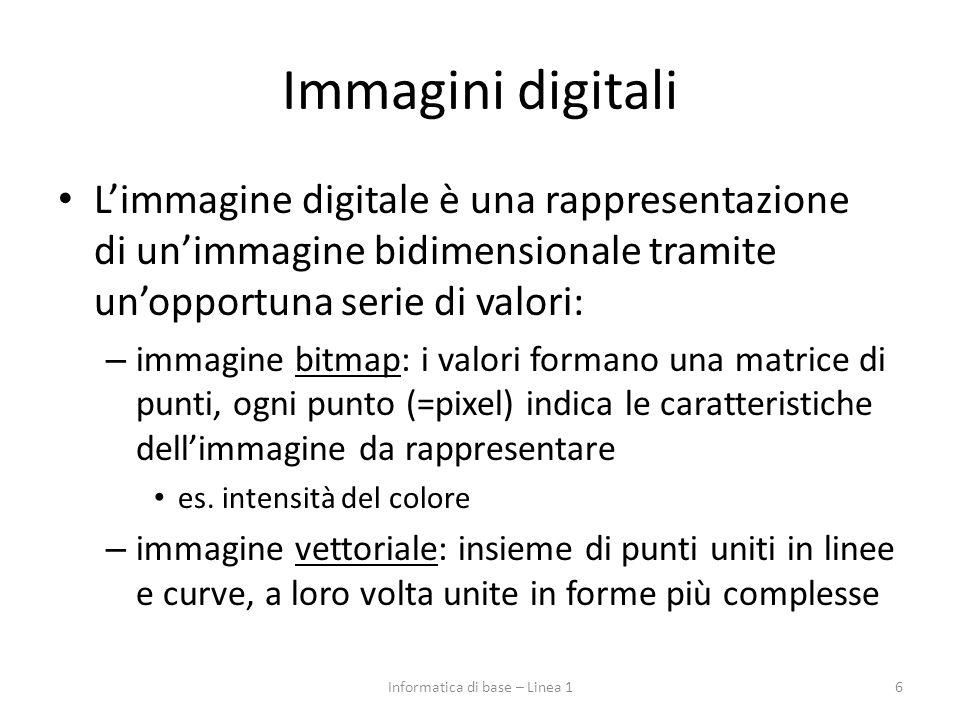 Immagini digitali L'immagine digitale è una rappresentazione di un'immagine bidimensionale tramite un'opportuna serie di valori: – immagine bitmap: i