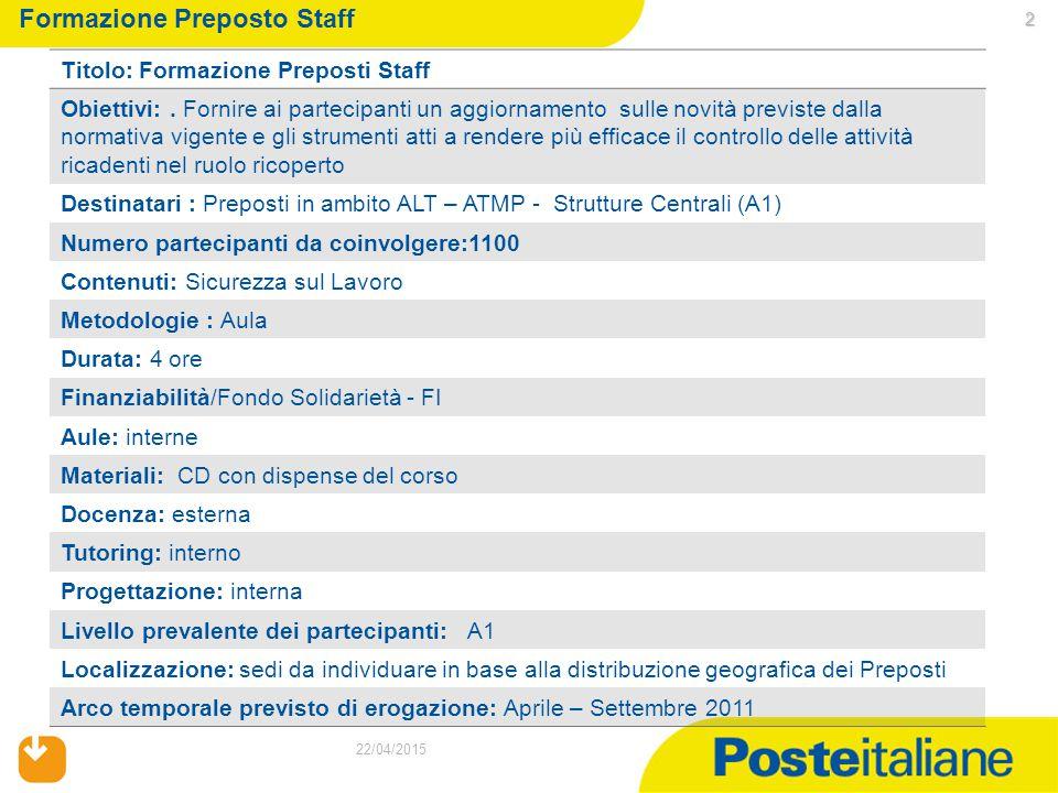 2 22/04/2015 Formazione Preposto Staff Titolo: Formazione Preposti Staff Obiettivi:. Fornire ai partecipanti un aggiornamento sulle novità previste da