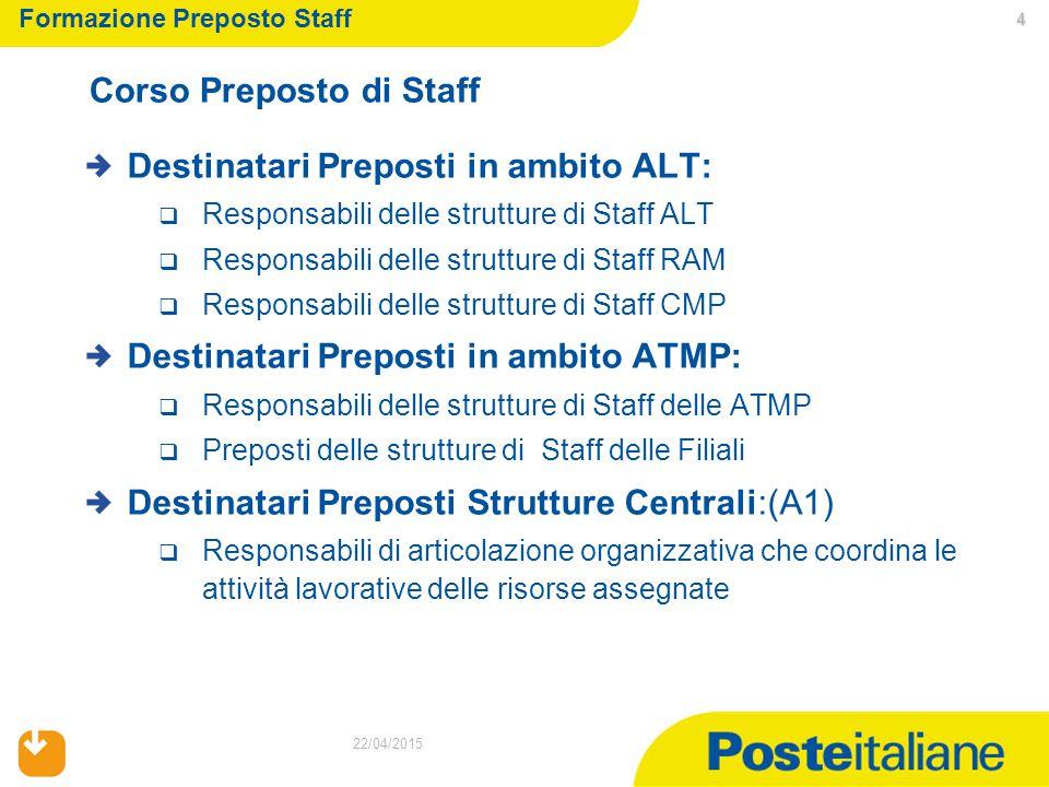 4 22/04/2015 Destinatari Preposti in ambito ALT:  Responsabili delle strutture di Staff ALT  Responsabili delle strutture di Staff RAM  Responsabil