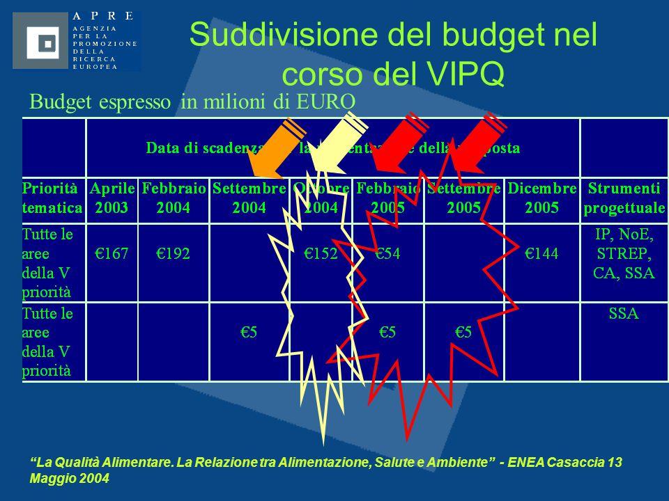 """""""La Qualità Alimentare. La Relazione tra Alimentazione, Salute e Ambiente"""" - ENEA Casaccia 13 Maggio 2004 Suddivisione del budget nel corso del VIPQ B"""