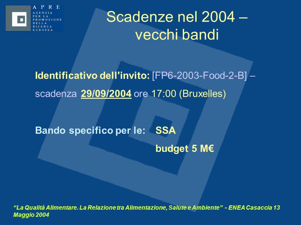 """""""La Qualità Alimentare. La Relazione tra Alimentazione, Salute e Ambiente"""" - ENEA Casaccia 13 Maggio 2004 Scadenze nel 2004 – vecchi bandi Identificat"""
