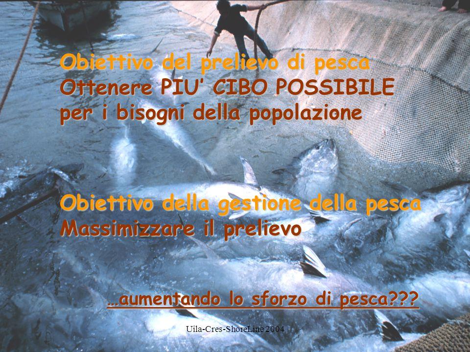 Obiettivo del prelievo di pesca Ottenere PIU' CIBO POSSIBILE per i bisogni della popolazione Obiettivo della gestione della pesca Massimizzare il prelievo …aumentando lo sforzo di pesca???