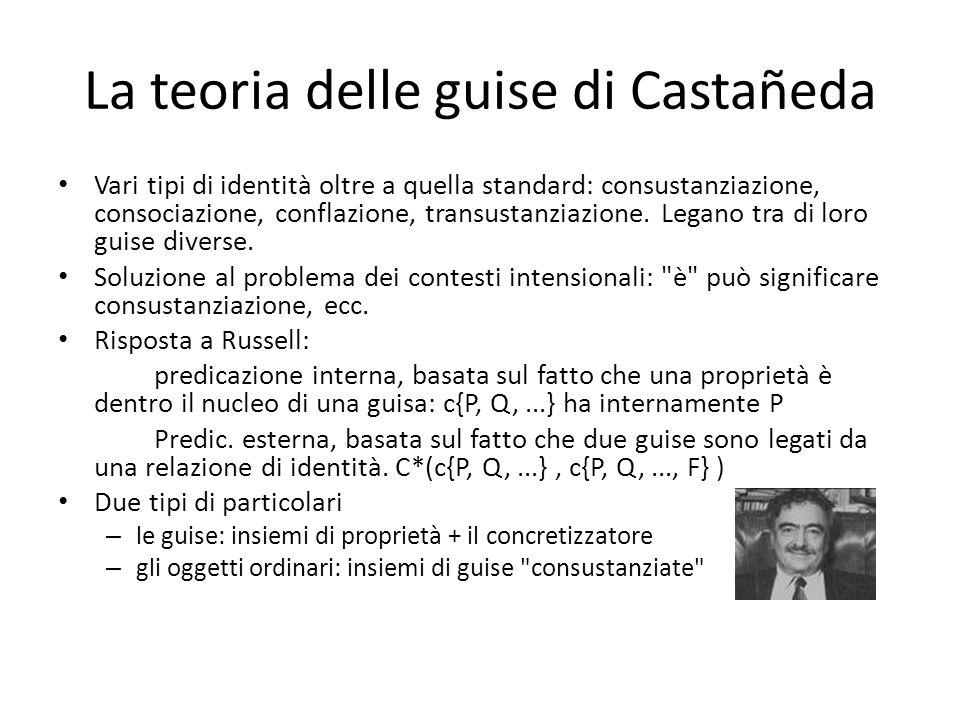 La teoria delle guise di Castañeda Vari tipi di identità oltre a quella standard: consustanziazione, consociazione, conflazione, transustanziazione. L