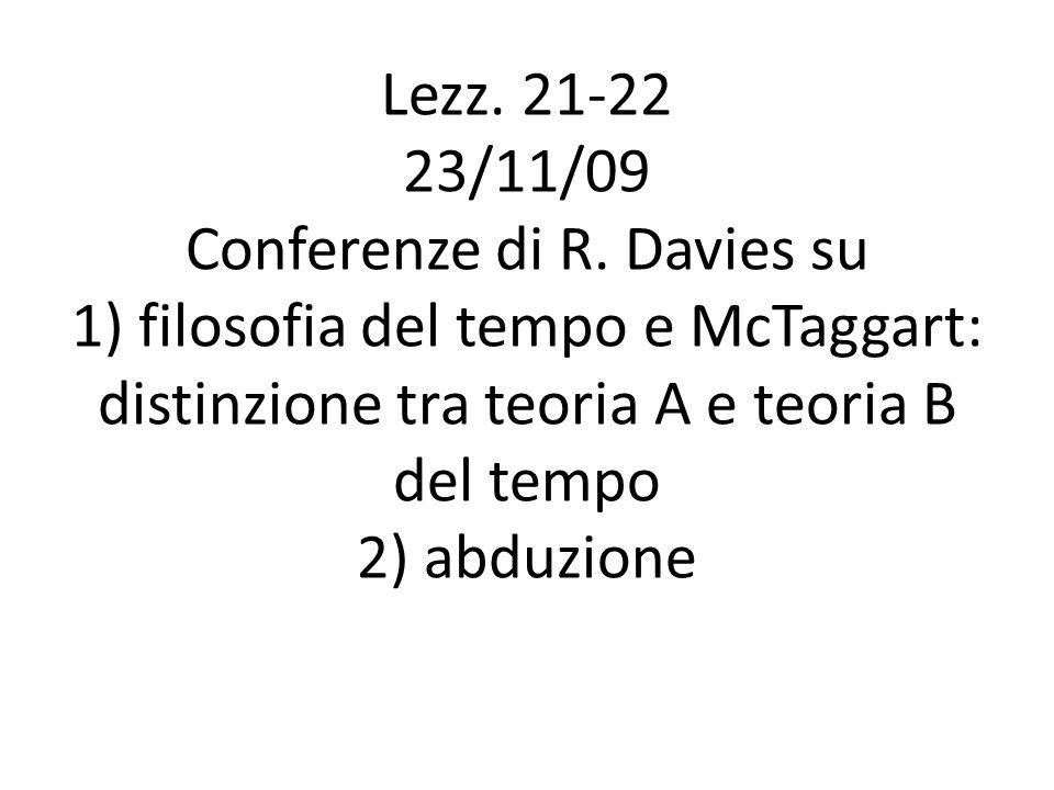 Lezz. 21-22 23/11/09 Conferenze di R. Davies su 1) filosofia del tempo e McTaggart: distinzione tra teoria A e teoria B del tempo 2) abduzione