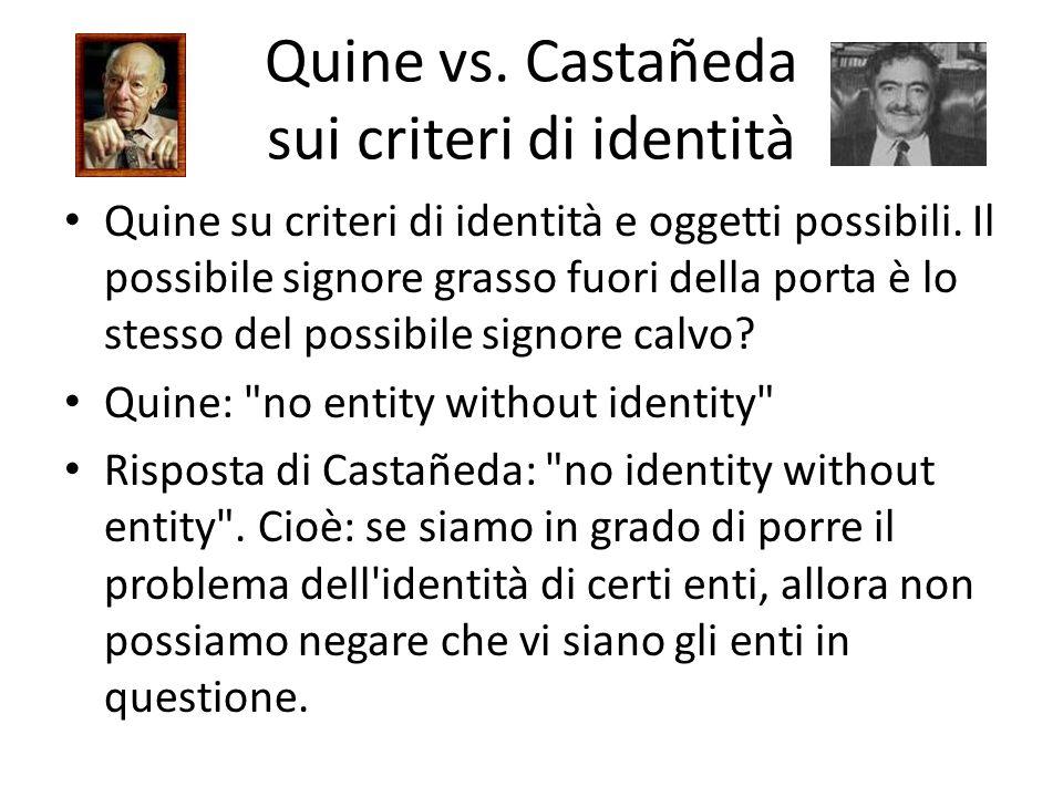Quine vs. Castañeda sui criteri di identità Quine su criteri di identità e oggetti possibili. Il possibile signore grasso fuori della porta è lo stess