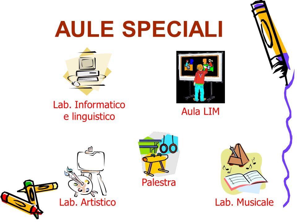 AULE SPECIALI Lab. Informatico e linguistico Lab. ArtisticoLab. Musicale Aula LIM Palestra