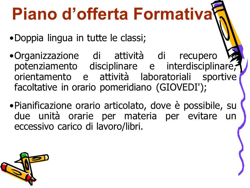 Piano d'offerta Formativa Doppia lingua in tutte le classi; Organizzazione di attività di recupero e potenziamento disciplinare e interdisciplinare, o