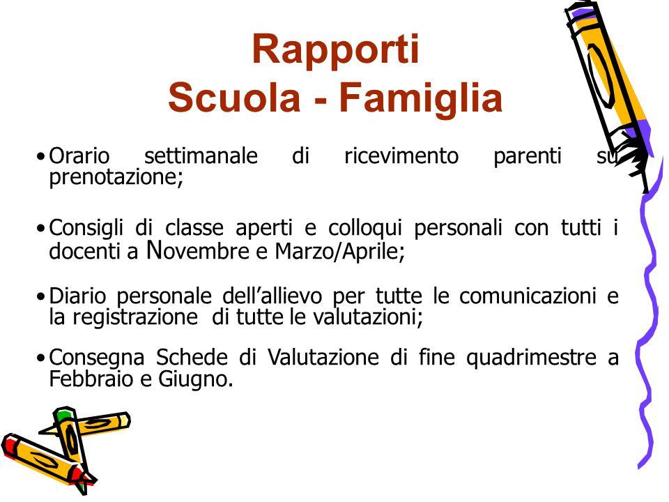 Rapporti Scuola - Famiglia Orario settimanale di ricevimento parenti su prenotazione; Consigli di classe aperti e colloqui personali con tutti i docen