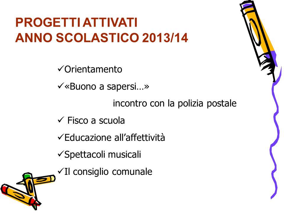 PROGETTI ATTIVATI ANNO SCOLASTICO 2013/14 Orientamento «Buono a sapersi…» incontro con la polizia postale Fisco a scuola Educazione all'affettività Sp