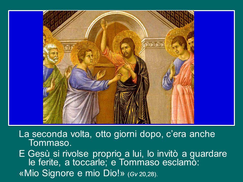 Il Vangelo di Giovanni ci riferisce che Gesù apparve due volte agli Apostoli chiusi nel Cenacolo: la prima, la sera stessa della Risurrezione, e quell
