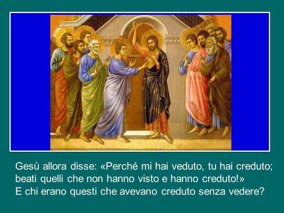 La seconda volta, otto giorni dopo, c'era anche Tommaso. E Gesù si rivolse proprio a lui, lo invitò a guardare le ferite, a toccarle; e Tommaso esclam