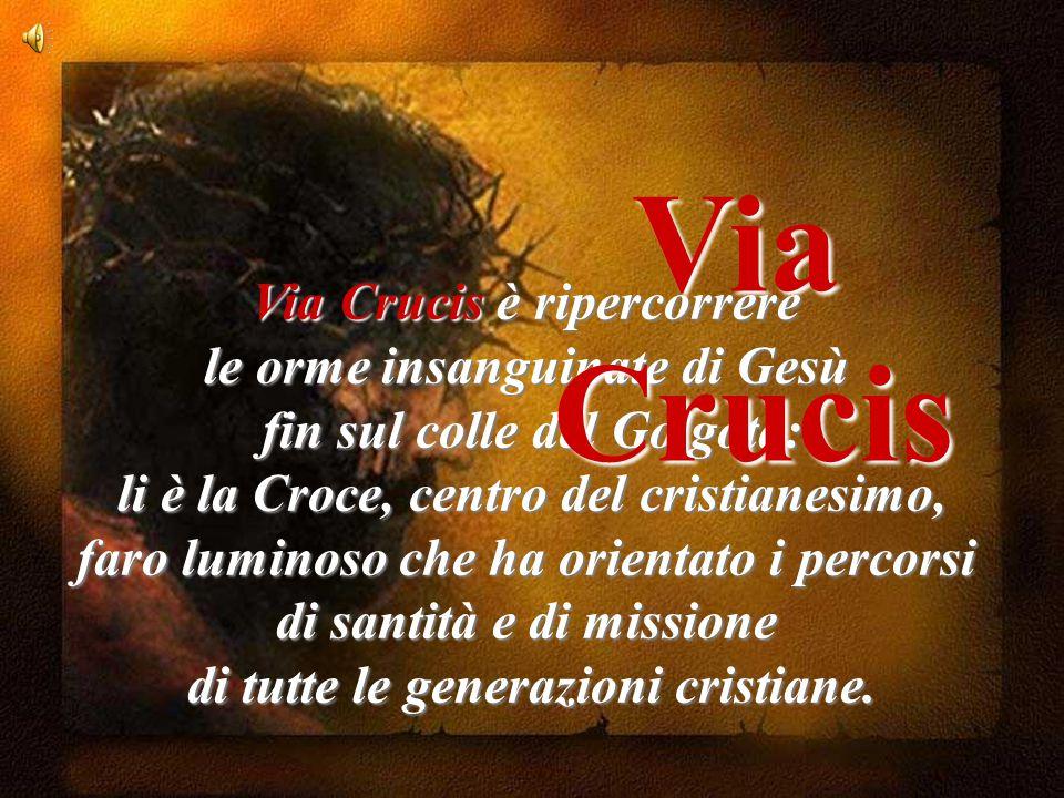 Via Crucis è ripercorrere le orme insanguinate di Gesù fin sul colle del Golgota: li è la Croce, centro del cristianesimo, faro luminoso che ha orientato i percorsi di santità e di missione di tutte le generazioni cristiane.