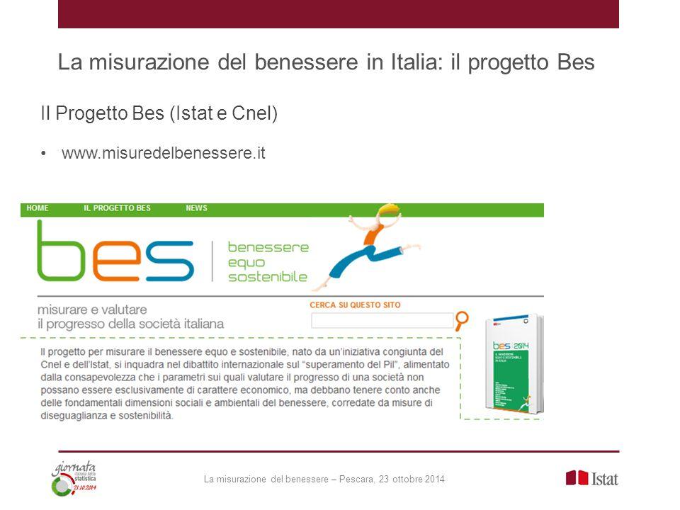 La misurazione del benessere in Italia: il progetto Bes Il Progetto Bes (Istat e Cnel) www.misuredelbenessere.it La misurazione del benessere – Pescara, 23 ottobre 2014