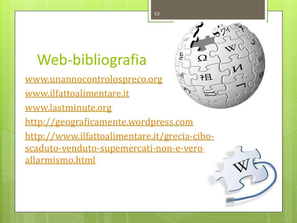 Web-bibliografia www.unannocontrolospreco.org www.ilfattoalimentare.it www.lastminute.org http://geograficamente.wordpress.com http://www.ilfattoalime