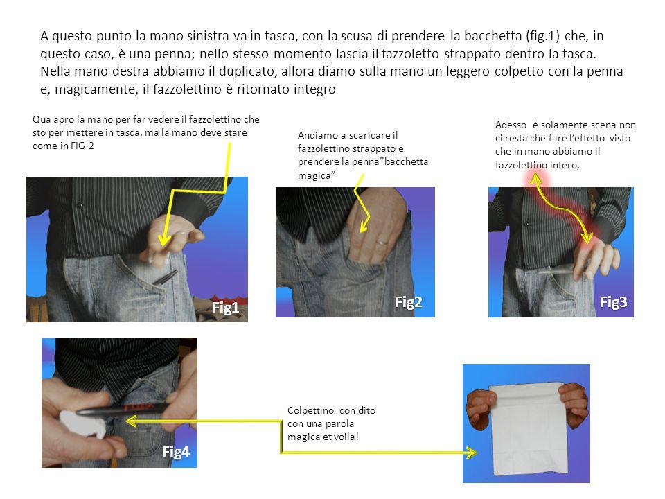 A questo punto la mano sinistra va in tasca, con la scusa di prendere la bacchetta (fig.1) che, in questo caso, è una penna; nello stesso momento lascia il fazzoletto strappato dentro la tasca.