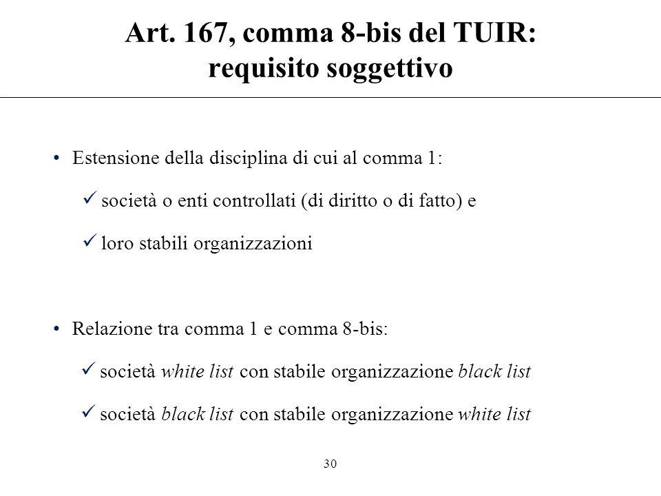 """Art. 167, comma 8-bis del TUIR """"La disciplina di cui al comma 1 trova applicazione anche nell'ipotesi in cui i soggetti controllati ai sensi dello ste"""