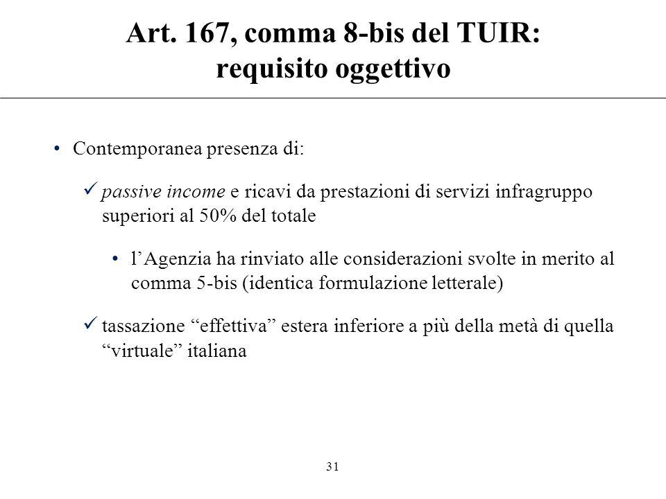 Art. 167, comma 8-bis del TUIR: requisito soggettivo Estensione della disciplina di cui al comma 1: società o enti controllati (di diritto o di fatto)