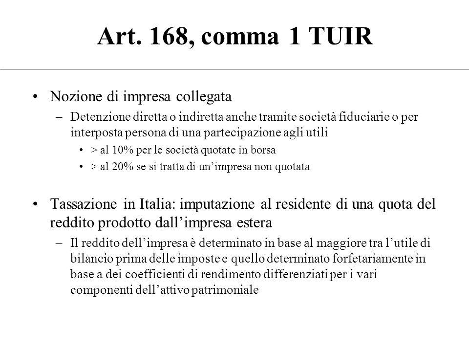 Art. 168, comma 1 TUIR Salvo quanto diversamente disposto dal presente articolo, la norma di cui all'articolo 167, con l'esclusione di quanto disposto