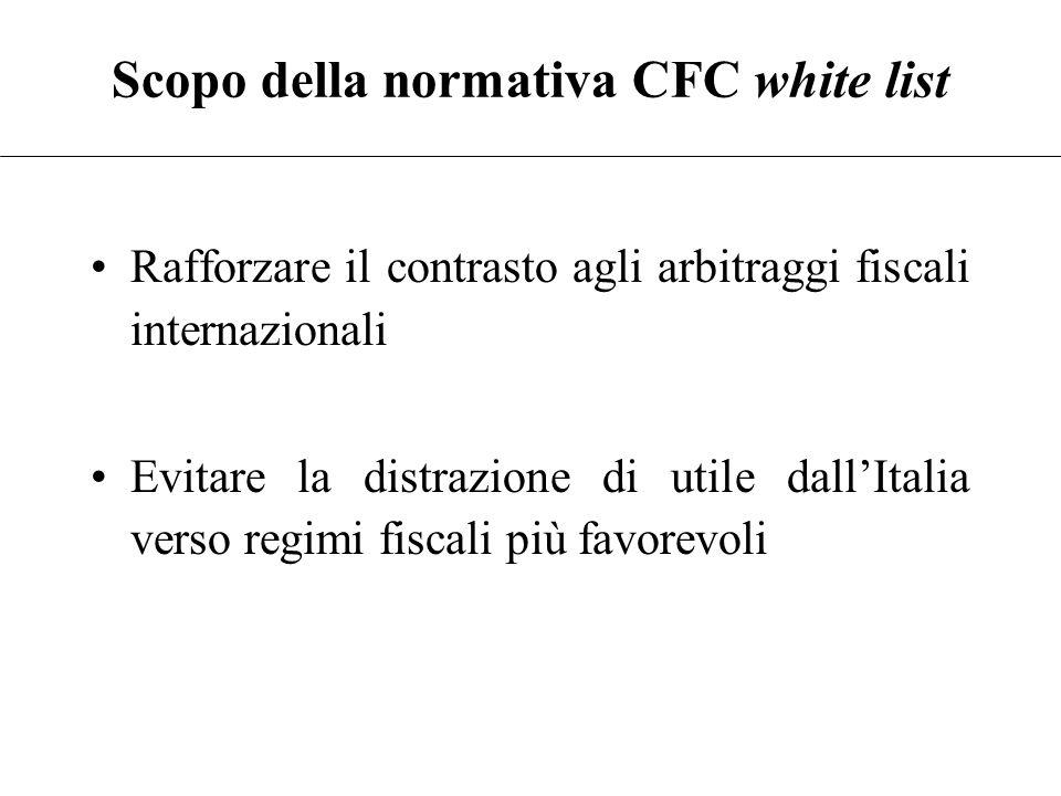 Scopo della normativa CFC black list Adeguarsi ai principi accolti in sede internazionale Evitare il differimento ottenuto mediante l'accumulo di util