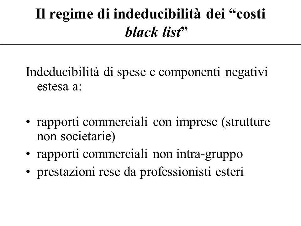 """Il regime di indeducibilità dei """"costi black list"""" Art. 110(10) come modificato dalla Finanziaria 2008 (non ancora vigente) """"non sono ammessi in deduz"""