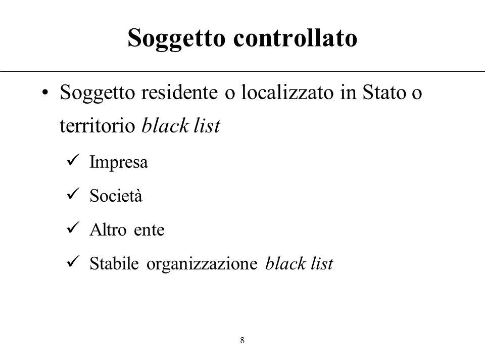 7 Soggetto controllante Soggetto residente in Italia Persone fisiche: imprenditori e non Rilevano voti spettanti a familiari [Art. 5(5) TUIR] Società