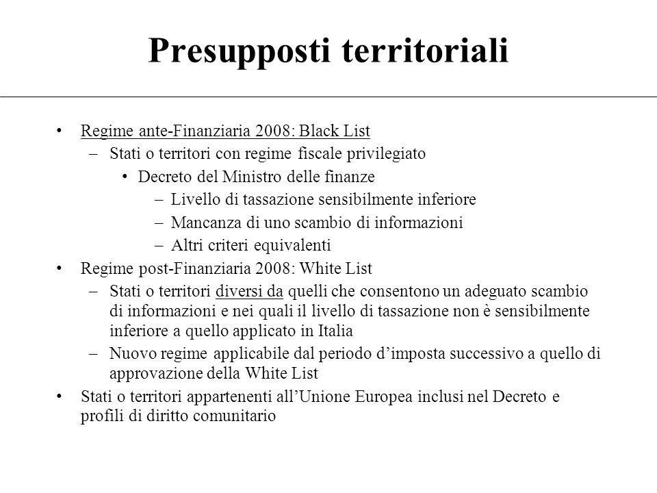 8 Soggetto controllato Soggetto residente o localizzato in Stato o territorio black list Impresa Società Altro ente Stabile organizzazione black list