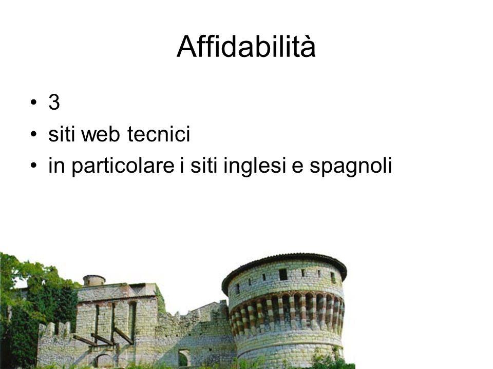 Affidabilità 3 siti web tecnici in particolare i siti inglesi e spagnoli
