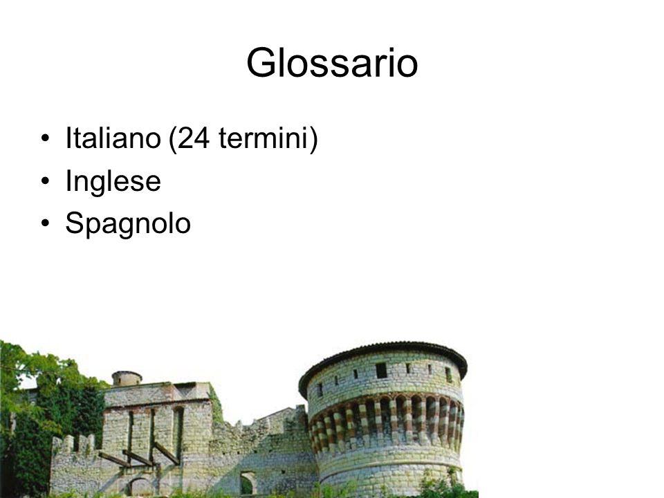 Glossario Italiano (24 termini) Inglese Spagnolo