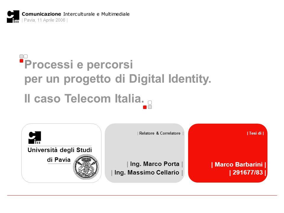 | Pavia, 11 Aprile 2006 | 0 Processi e percorsi per un progetto di Digital Identity.