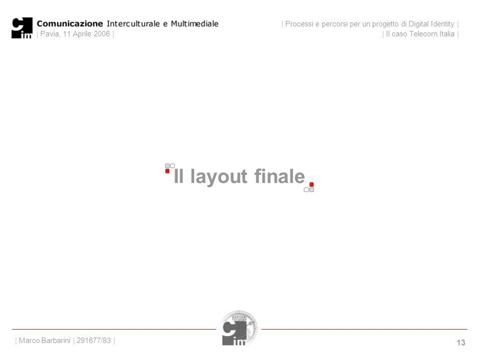 | Pavia, 11 Aprile 2006 | 13 | Processi e percorsi per un progetto di Digital Identity | | Il caso Telecom Italia | | Marco Barbarini | 291677/83 | Il layout finale