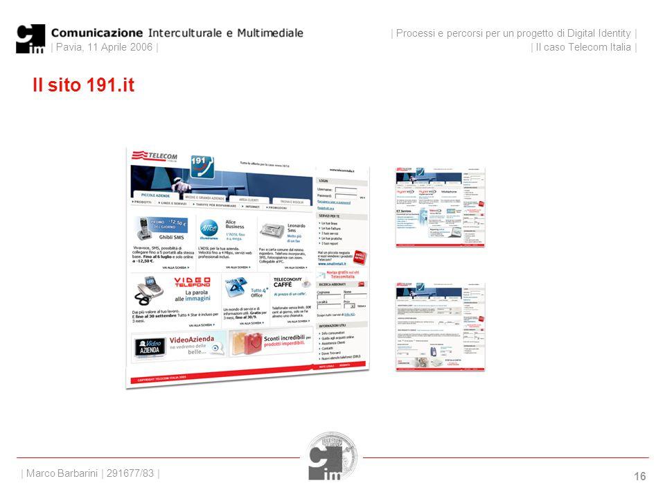 | Pavia, 11 Aprile 2006 | 16 Il sito 191.it | Processi e percorsi per un progetto di Digital Identity | | Il caso Telecom Italia | | Marco Barbarini | 291677/83 |