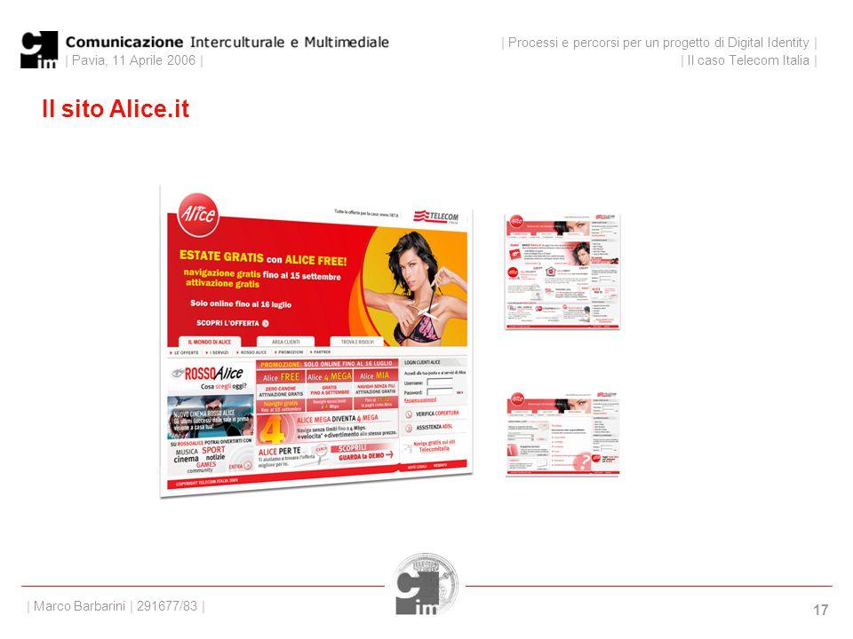 | Pavia, 11 Aprile 2006 | 17 Il sito Alice.it | Processi e percorsi per un progetto di Digital Identity | | Il caso Telecom Italia | | Marco Barbarini | 291677/83 |