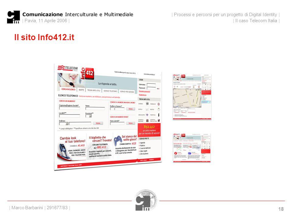 | Pavia, 11 Aprile 2006 | 18 Il sito Info412.it | Processi e percorsi per un progetto di Digital Identity | | Il caso Telecom Italia | | Marco Barbarini | 291677/83 |