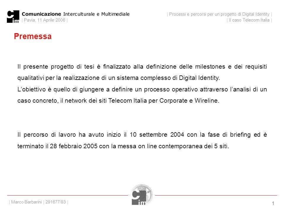 | Pavia, 11 Aprile 2006 | 1 Premessa Il presente progetto di tesi è finalizzato alla definizione delle milestones e dei requisiti qualitativi per la realizzazione di un sistema complesso di Digital Identity.