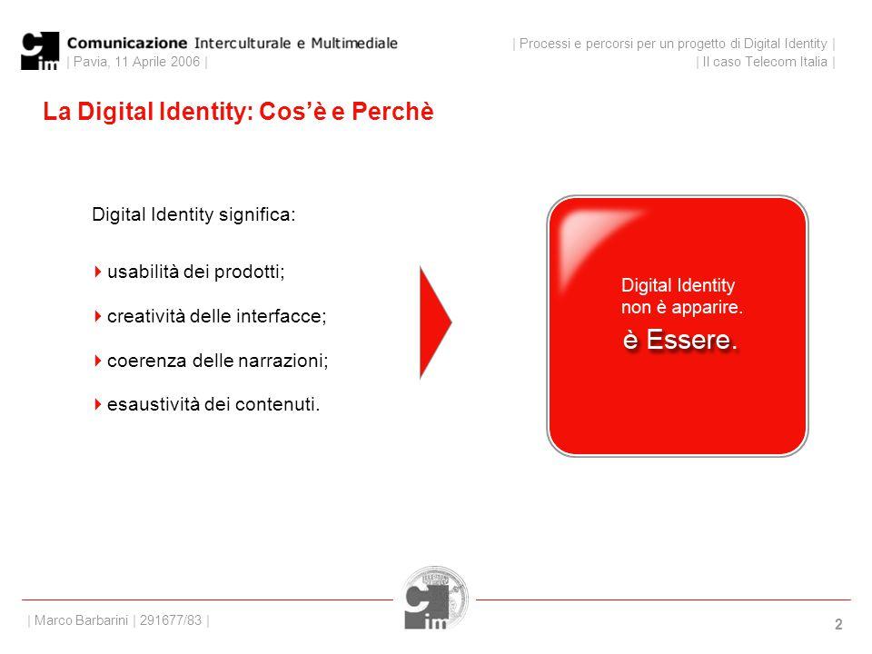 | Pavia, 11 Aprile 2006 | 2 La Digital Identity: Cos'è e Perchè Digital Identity significa: | Processi e percorsi per un progetto di Digital Identity | | Il caso Telecom Italia | | Marco Barbarini | 291677/83 |  usabilità dei prodotti;  creatività delle interfacce;  coerenza delle narrazioni;  esaustività dei contenuti.