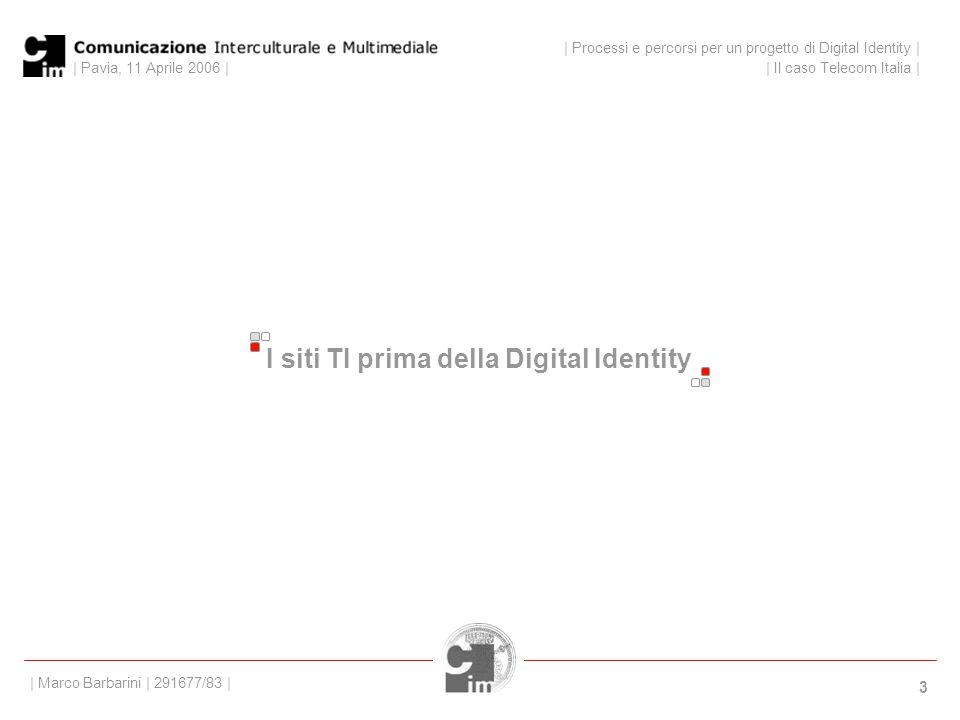 | Pavia, 11 Aprile 2006 | 3 I siti TI prima della Digital Identity | Processi e percorsi per un progetto di Digital Identity | | Il caso Telecom Italia | | Marco Barbarini | 291677/83 |