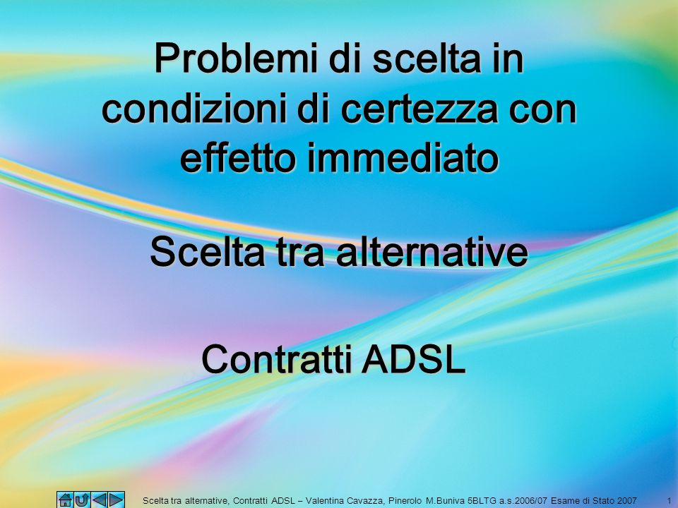 Scelta tra alternative, Contratti ADSL – Valentina Cavazza, Pinerolo M.Buniva 5BLTG a.s.2006/07 Esame di Stato 20071 Scelta tra alternative Contratti