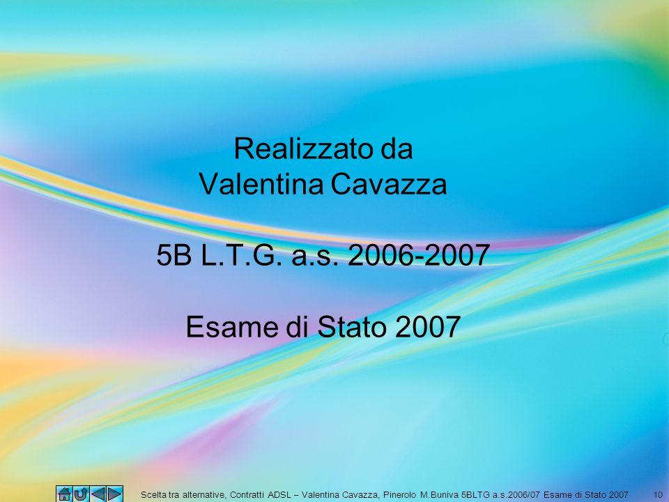 Scelta tra alternative, Contratti ADSL – Valentina Cavazza, Pinerolo M.Buniva 5BLTG a.s.2006/07 Esame di Stato 200710 Realizzato da Valentina Cavazza
