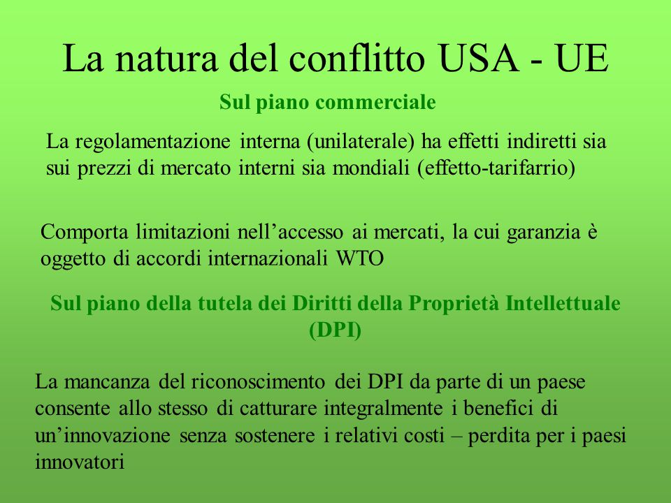 La natura del conflitto USA - UE Sul piano commerciale Sul piano della tutela dei Diritti della Proprietà Intellettuale (DPI) La regolamentazione interna (unilaterale) ha effetti indiretti sia sui prezzi di mercato interni sia mondiali (effetto-tarifarrio) Comporta limitazioni nell'accesso ai mercati, la cui garanzia è oggetto di accordi internazionali WTO La mancanza del riconoscimento dei DPI da parte di un paese consente allo stesso di catturare integralmente i benefici di un'innovazione senza sostenere i relativi costi – perdita per i paesi innovatori