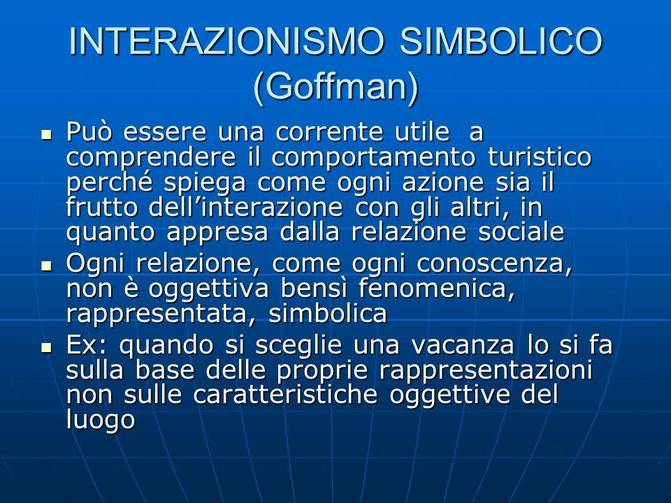INTERAZIONISMO SIMBOLICO (Goffman) Può essere una corrente utile a comprendere il comportamento turistico perché spiega come ogni azione sia il frutto