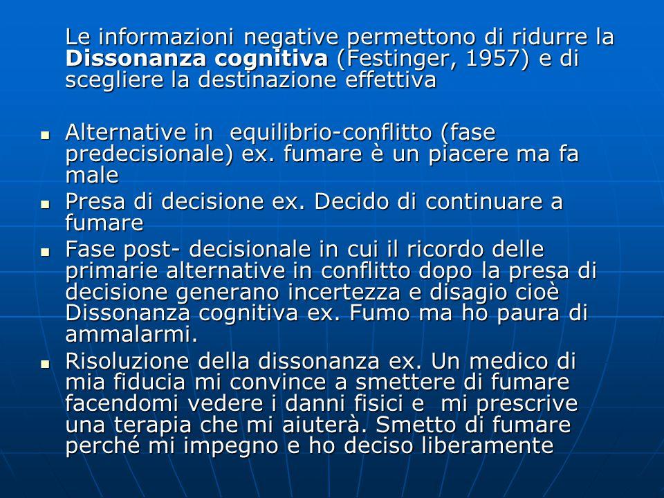 Le informazioni negative permettono di ridurre la Dissonanza cognitiva (Festinger, 1957) e di scegliere la destinazione effettiva Alternative in equil