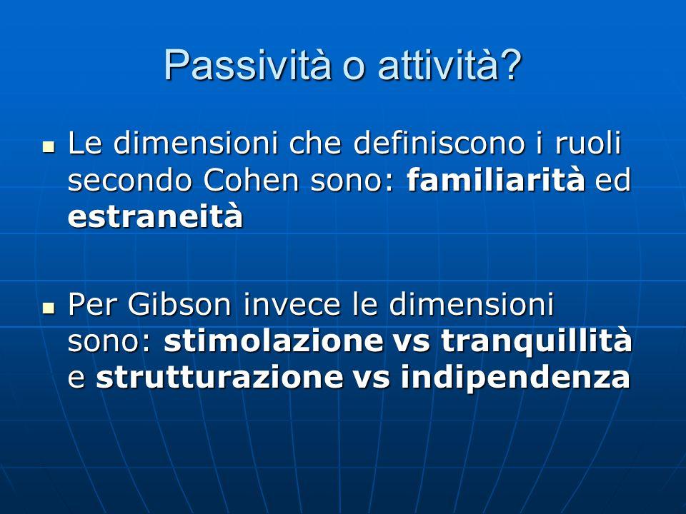 Passività o attività? Le dimensioni che definiscono i ruoli secondo Cohen sono: familiarità ed estraneità Le dimensioni che definiscono i ruoli second