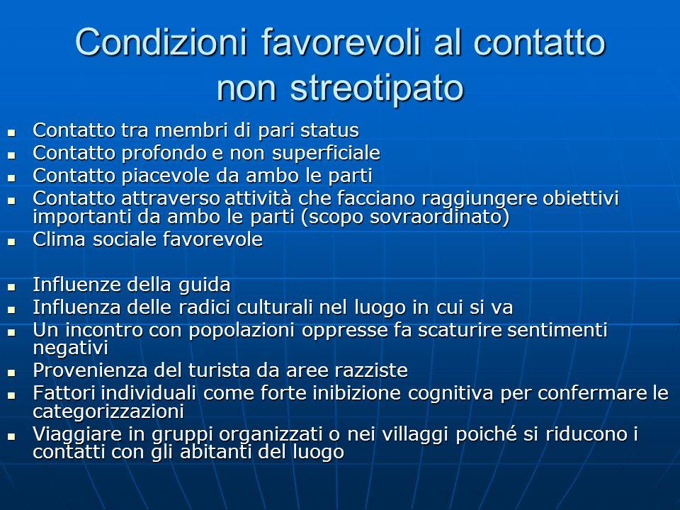 Condizioni favorevoli al contatto non streotipato Contatto tra membri di pari status Contatto tra membri di pari status Contatto profondo e non superf
