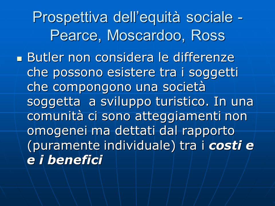 Prospettiva dell'equità sociale - Pearce, Moscardoo, Ross Butler non considera le differenze che possono esistere tra i soggetti che compongono una società soggetta a sviluppo turistico.