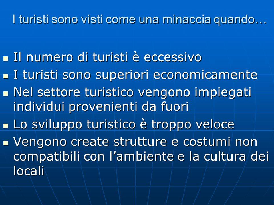 I turisti sono visti come una minaccia quando… Il numero di turisti è eccessivo Il numero di turisti è eccessivo I turisti sono superiori economicamen