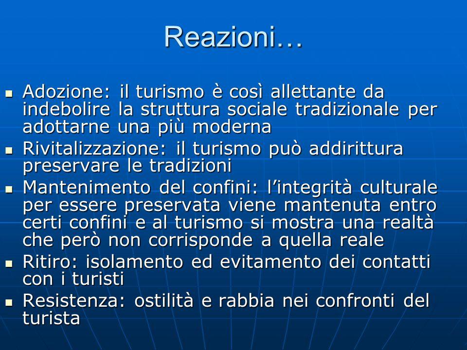 Reazioni… Adozione: il turismo è così allettante da indebolire la struttura sociale tradizionale per adottarne una più moderna Adozione: il turismo è
