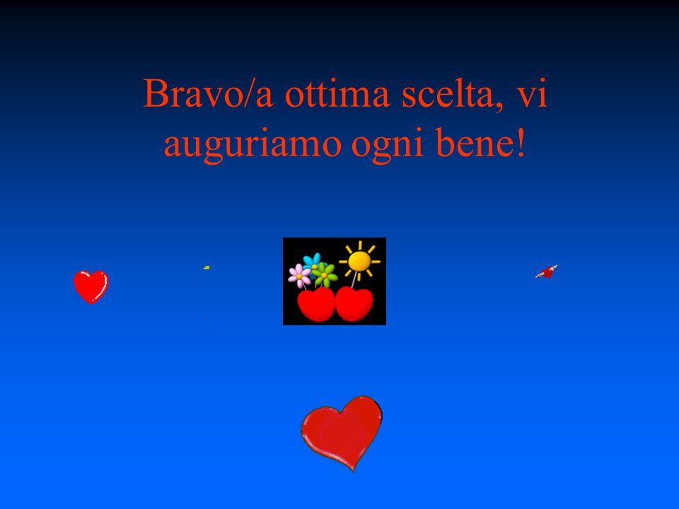 Bravo/a ottima scelta, vi auguriamo ogni bene!