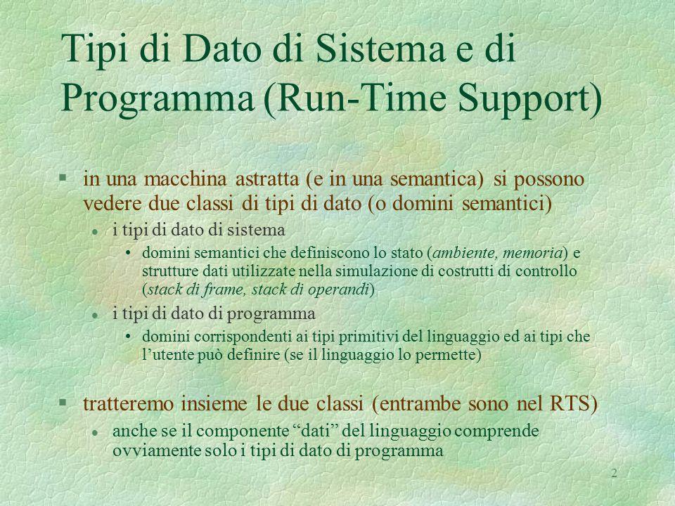 2 Tipi di Dato di Sistema e di Programma (Run-Time Support) §in una macchina astratta (e in una semantica) si possono vedere due classi di tipi di dato (o domini semantici) l i tipi di dato di sistema domini semantici che definiscono lo stato (ambiente, memoria) e strutture dati utilizzate nella simulazione di costrutti di controllo (stack di frame, stack di operandi) l i tipi di dato di programma domini corrispondenti ai tipi primitivi del linguaggio ed ai tipi che l'utente può definire (se il linguaggio lo permette) §tratteremo insieme le due classi (entrambe sono nel RTS) l anche se il componente dati del linguaggio comprende ovviamente solo i tipi di dato di programma